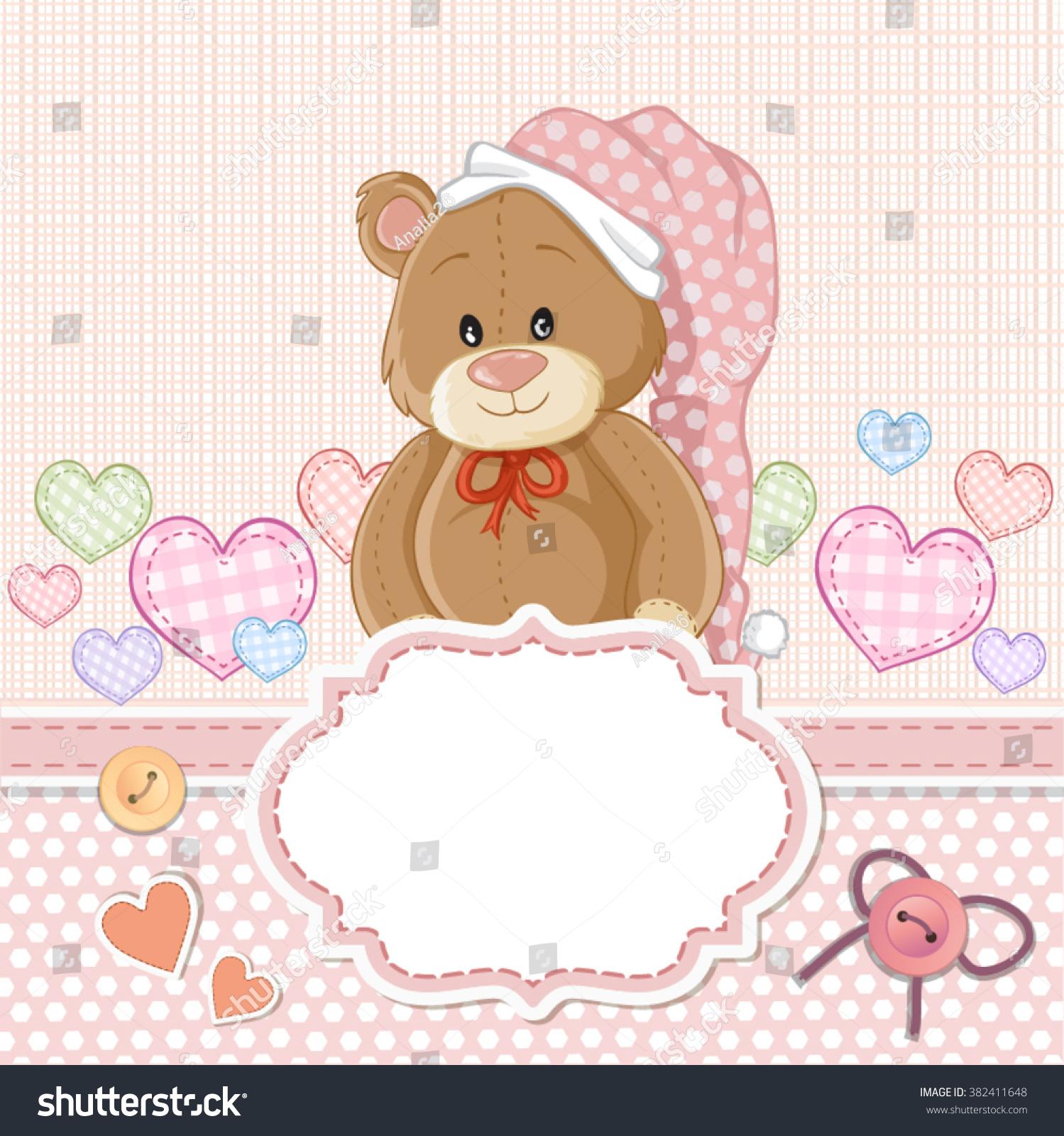 Teddy Bear Baby Girl Baby Shower Stock Vector Royalty Free