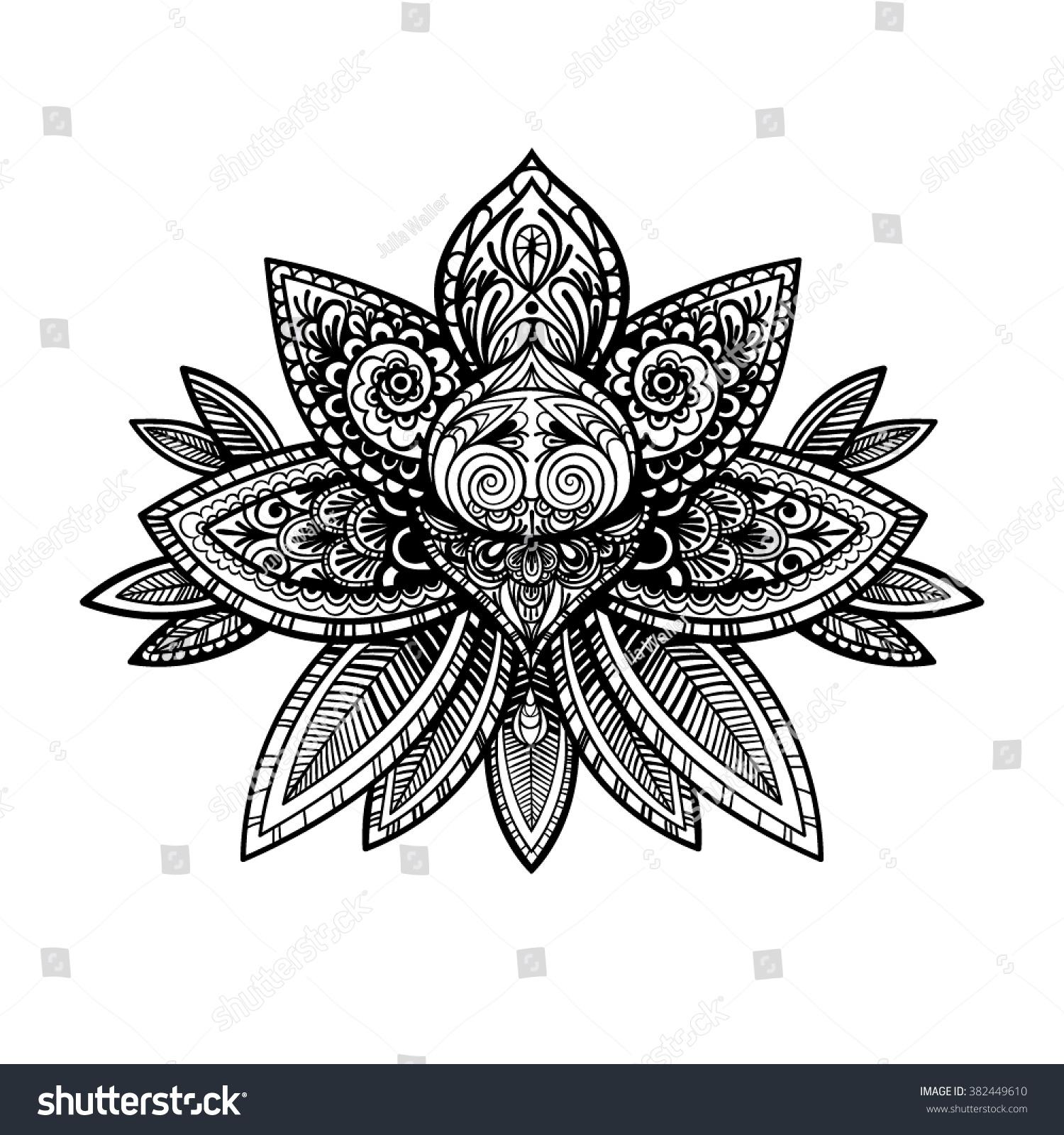 Vector Black White Henna Lotus Illustration Stock Vector Royalty