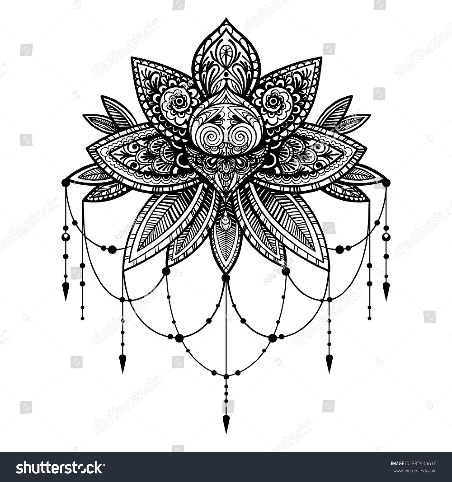 Vector Black White Tattoo Lotus Illustration Stock Vector Royalty