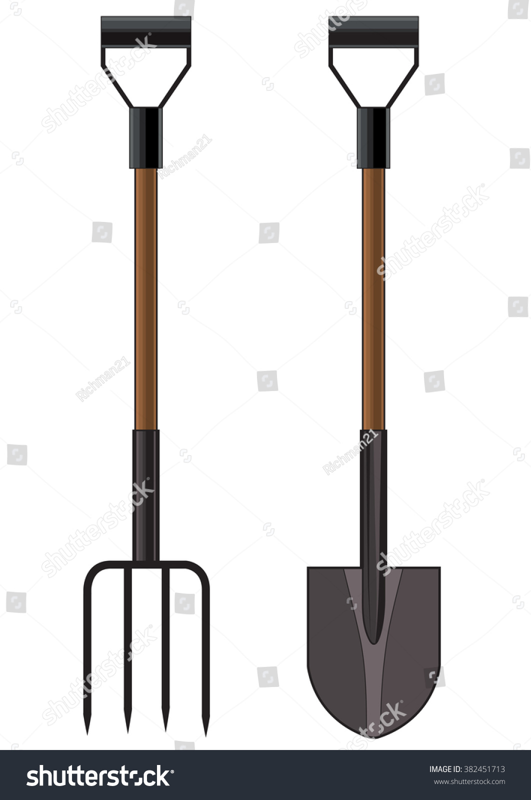 Vector Illustration Garden Pitchfork Shovel Stock Vector 382451713