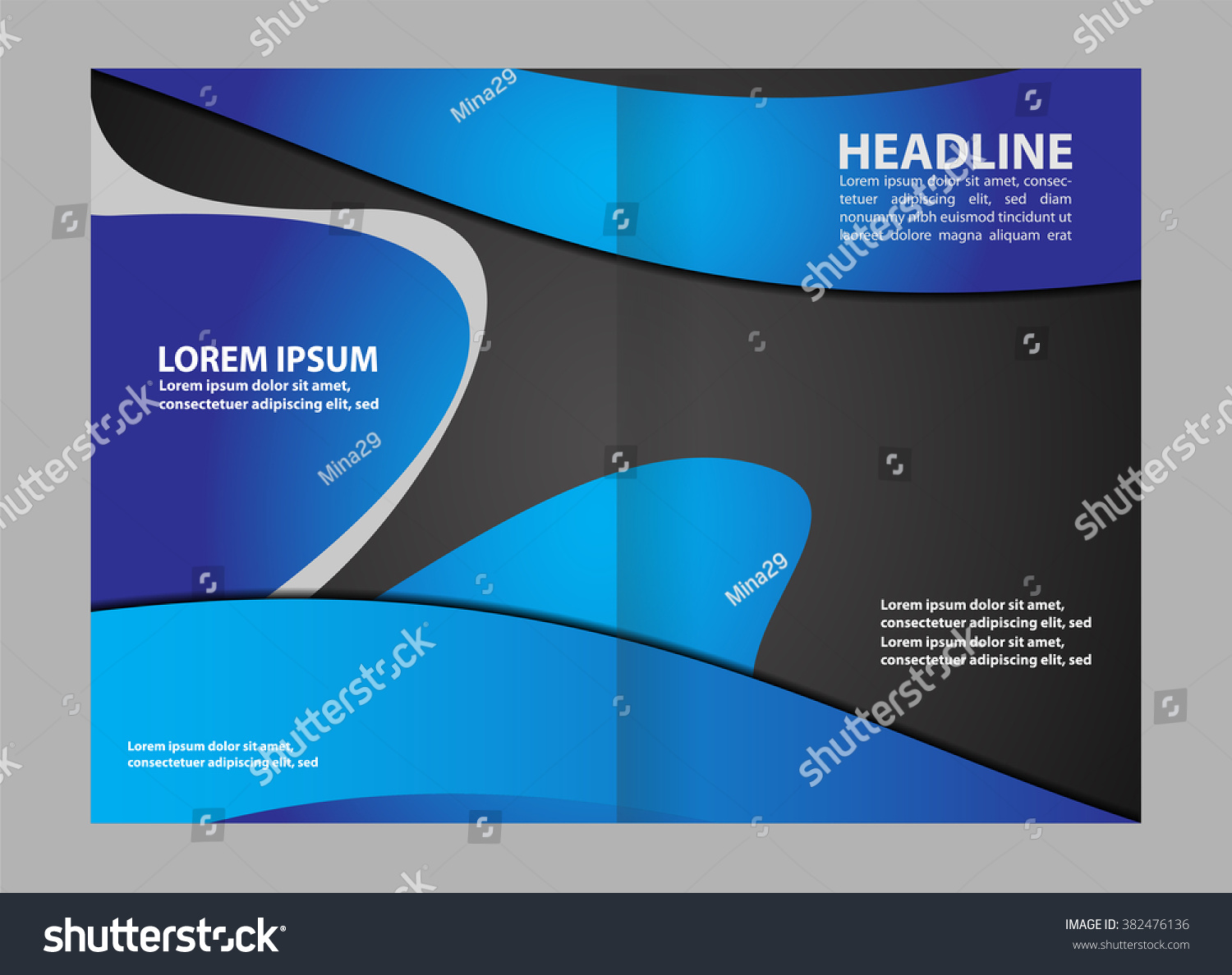 Abstract Wavy Bifold Brochure Template Stock Vector - Bi fold brochure templates