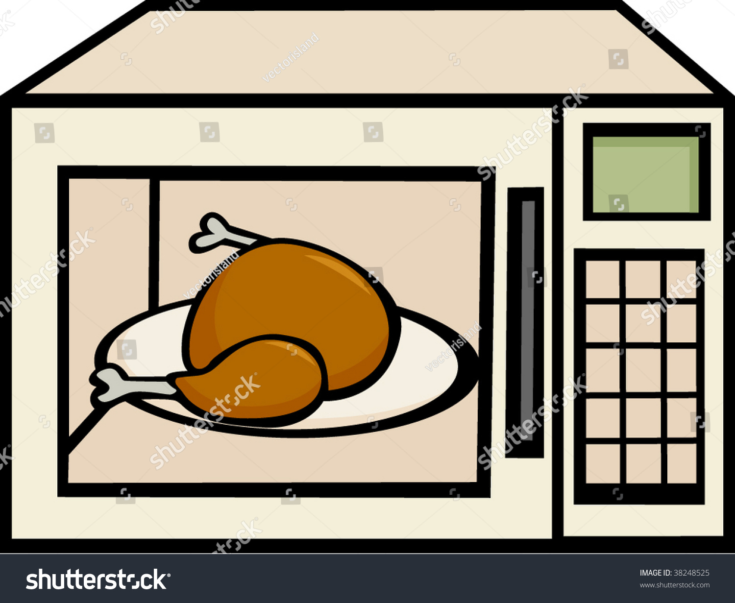 Microwave Oven Clip Art ~ Chicken turkey microwave oven stock vector