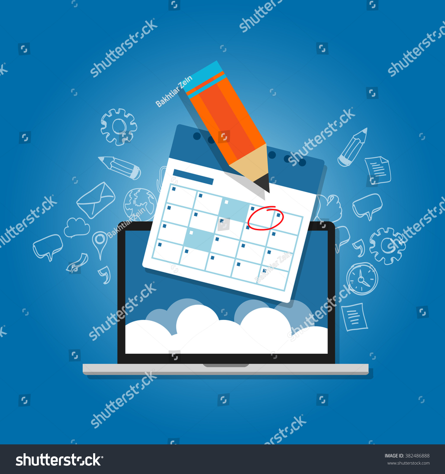 Calendar Planner For Laptop : Mark circle your calendar agenda online stock vector