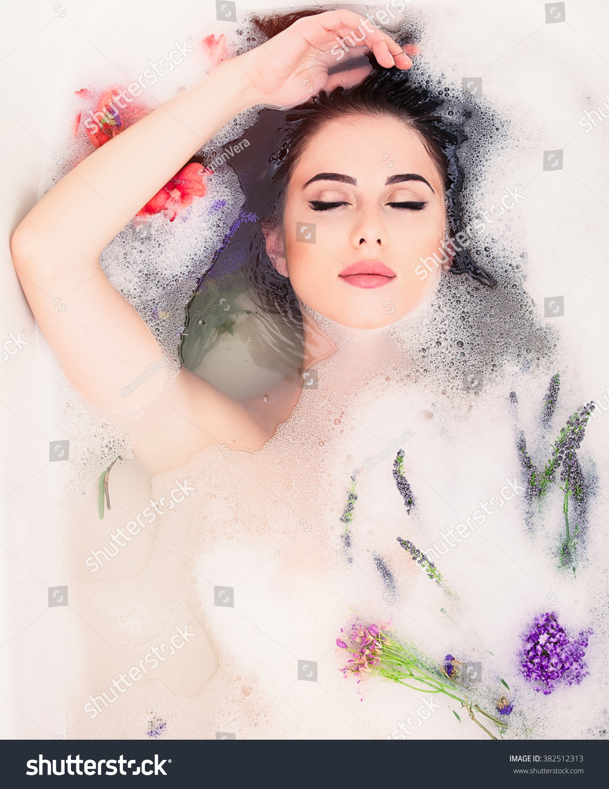 Portrait young beautiful woman flowers foam stock photo 382512313 portrait of young beautiful woman with flowers in the foam bath dhlflorist Gallery