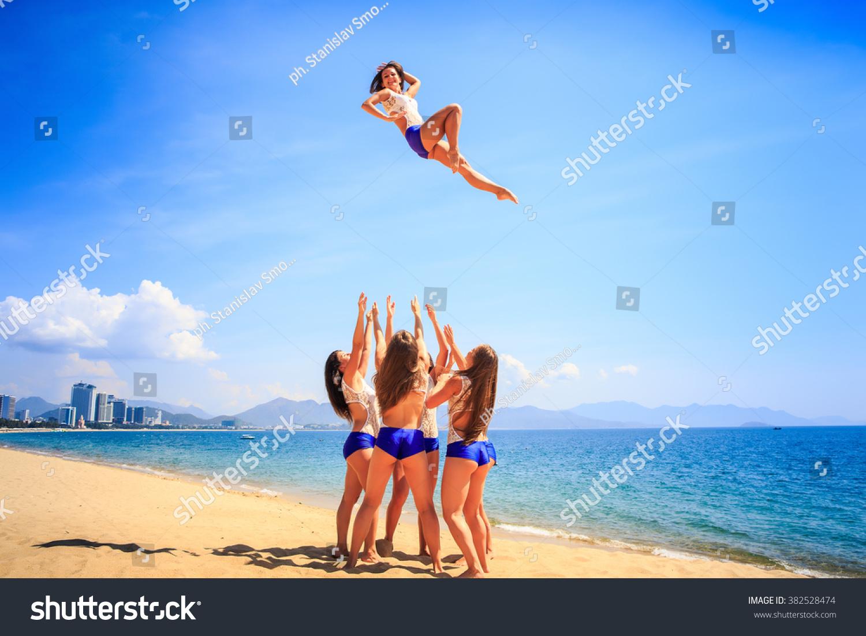 Squad Cheerleaders White Blue Uniform Performs Stock Photo ...