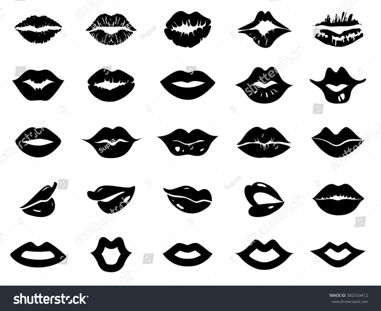 Set Lips Icon Stock Vector 382533412 - Shutterstock