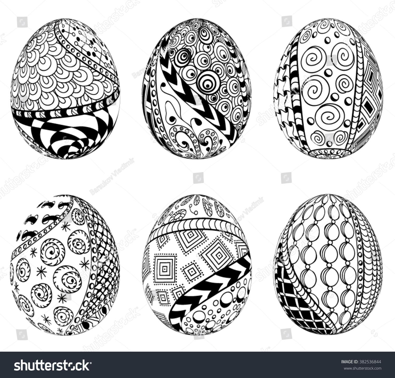Set Zentangle Easter Eggs Decorative Ornate Stock Vector Royalty