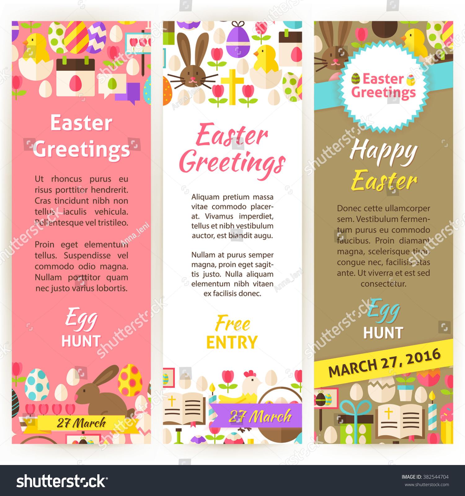 Happy Easter Vertical Flyer Set Flat Stock Vector (2018) 382544704 ...