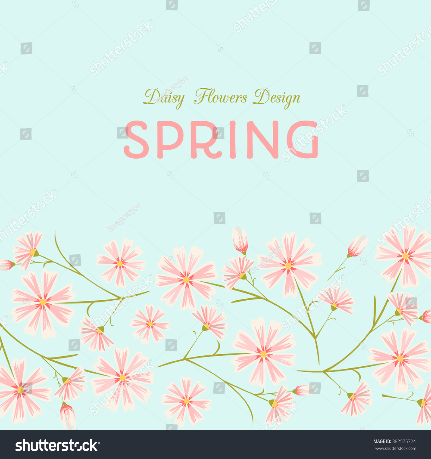 Spring Flowers Design Template Pink Daisy Stock Vector 382575724
