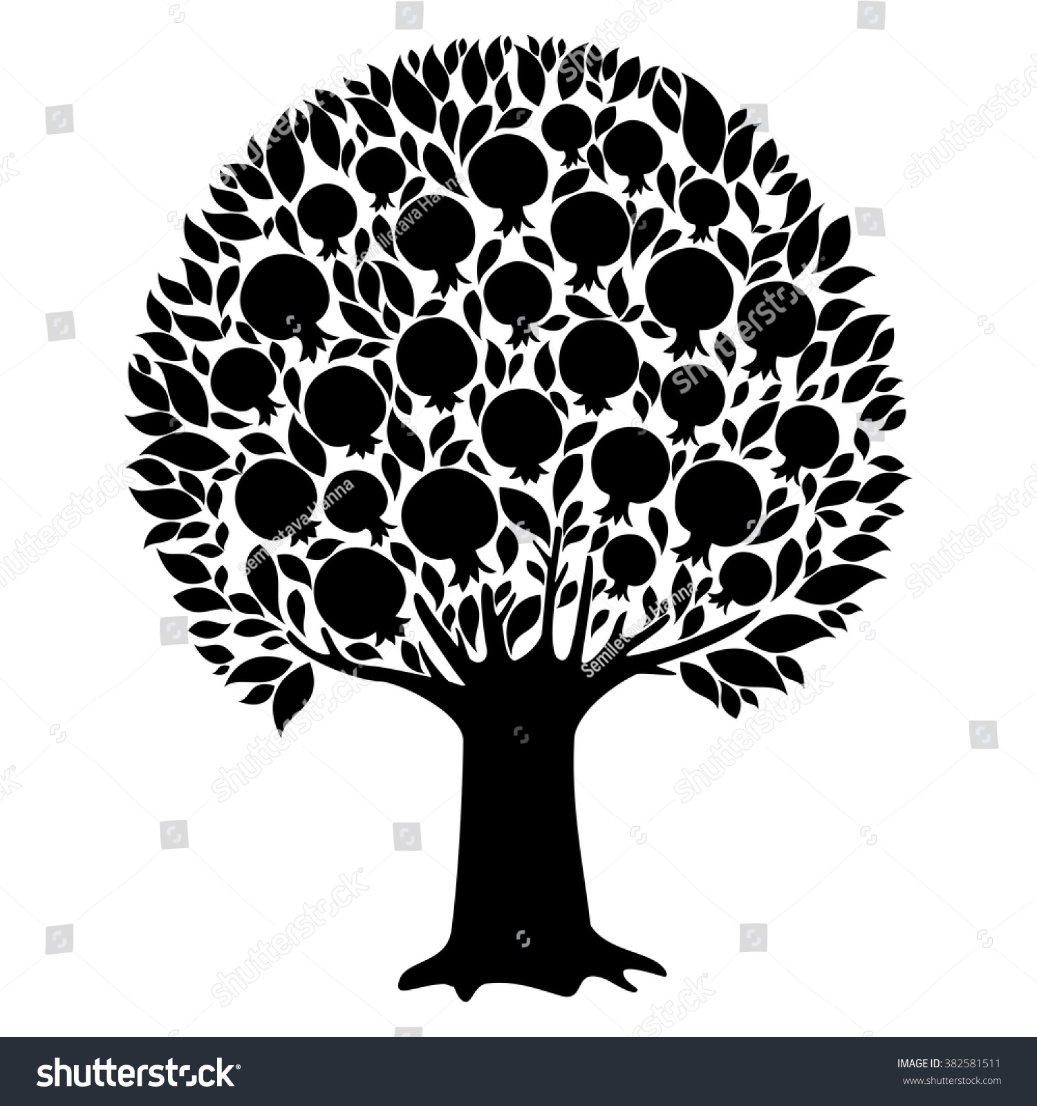 Pomegranate Tree Isolated On White Background Stock Vector Royalty Free 382581511