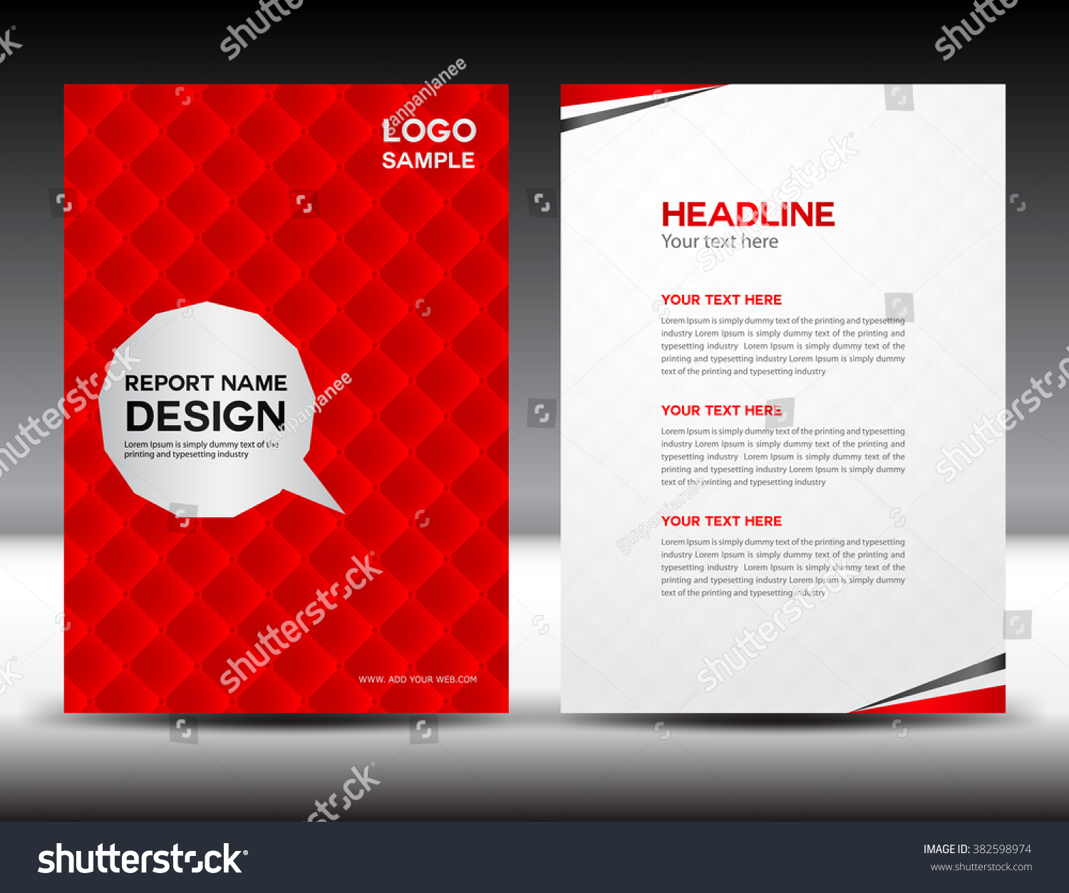 red brochure template - red annual report vector illustration cover design