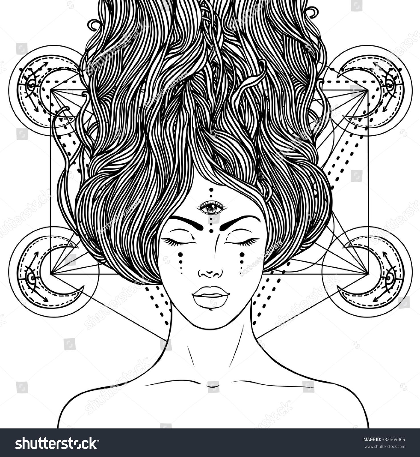 Magic Night Fairy With 3rd Eye Hand Drawn Portrait Of A Beautiful Shaman Woman