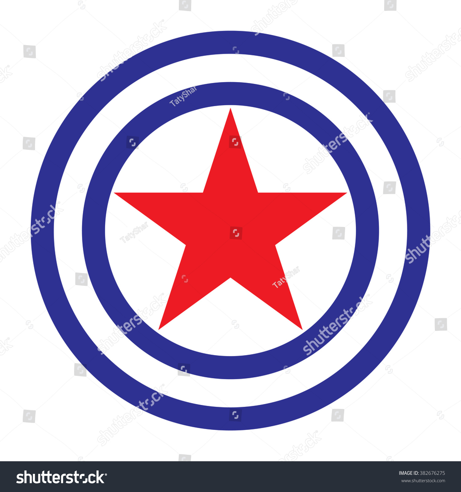 Icon red star circle center blue stock vector 382676275 shutterstock icon red star circle center a blue symbol biocorpaavc Choice Image