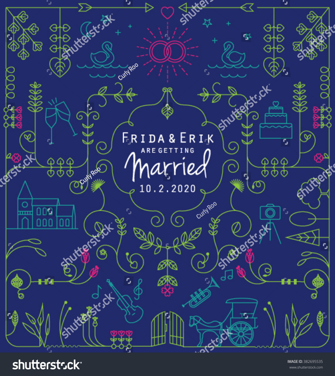 Wedding line icons collection can be stock vector 382695535 can be used in wedding invitation design cards websites stopboris Images