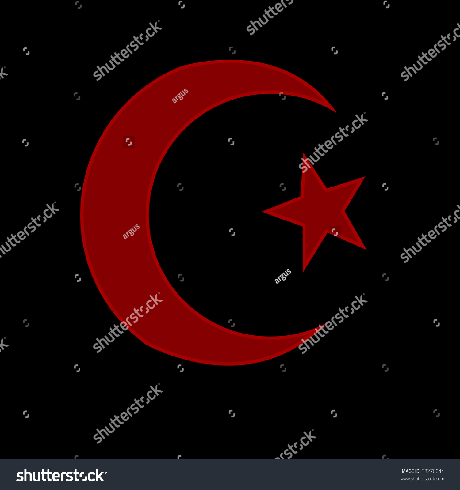 Red Islamic Symbol On A Black Background Stock Photo ...