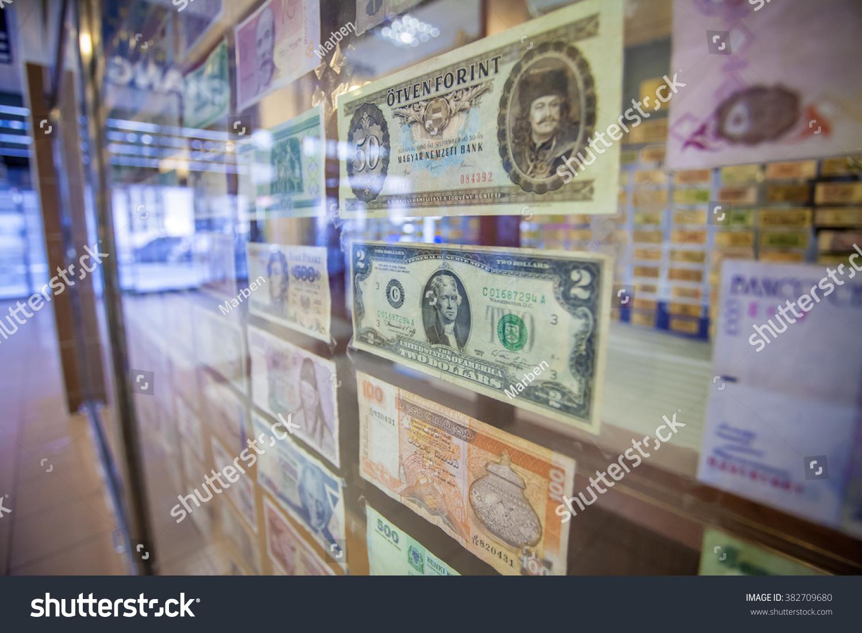 Old Paper Bills Window Currency Exchange Stock Photo (Edit