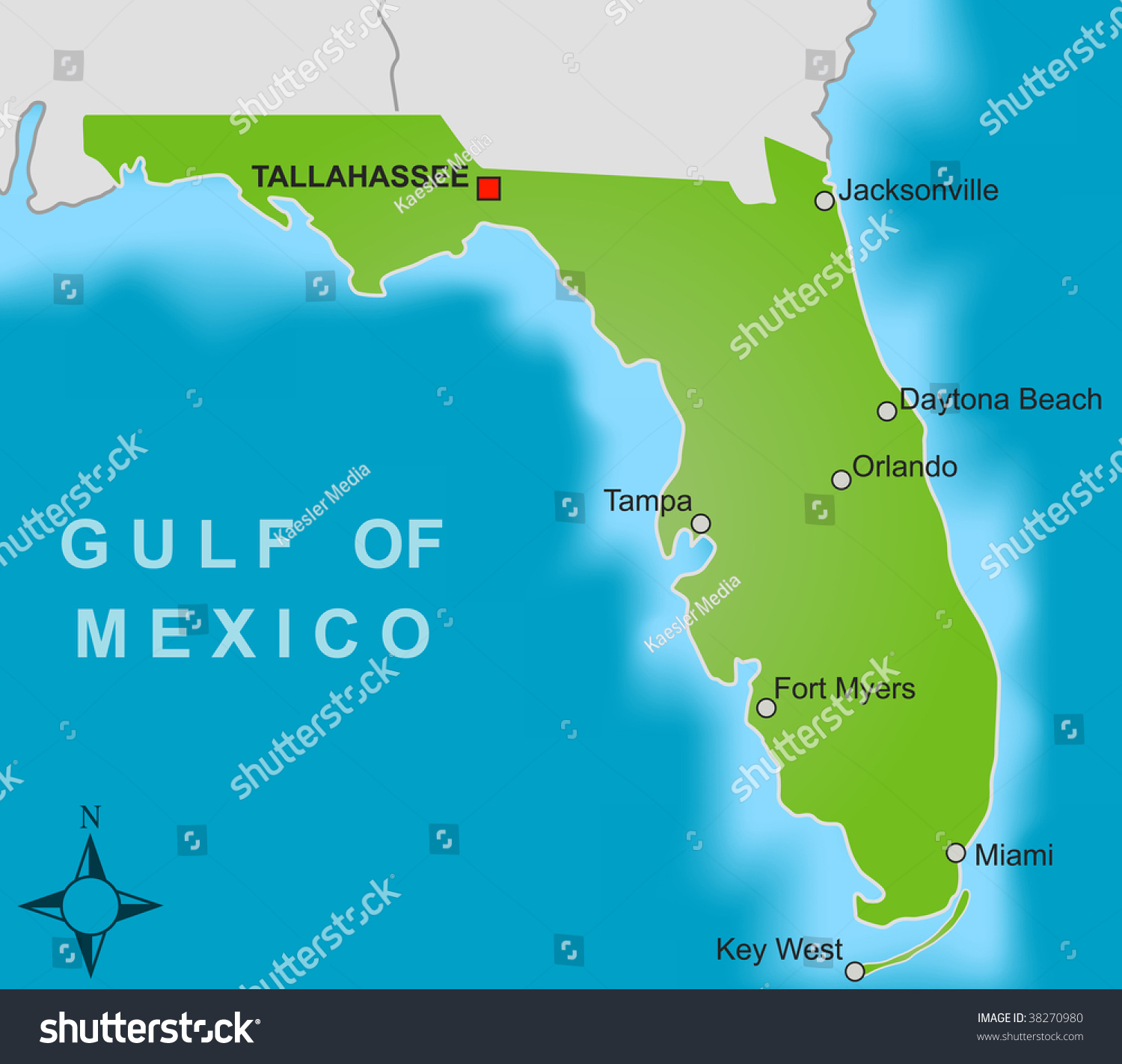 Stylized Map State Florida Showing Different Stock Illustration - Florida map showing cities