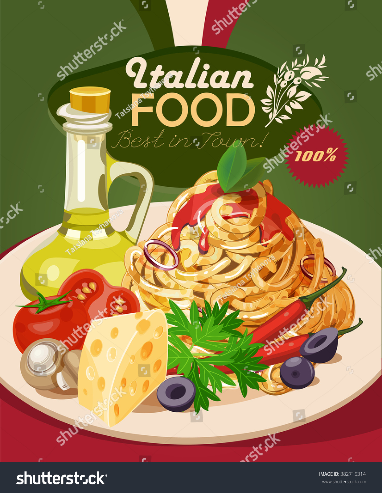 Italian Food Pasta Spaghetti Olive Oil Stock Vector ...