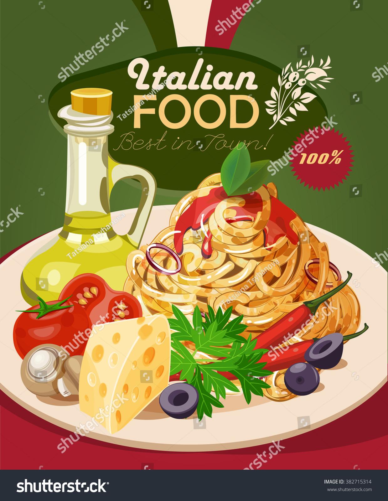 italian food pasta spaghetti olive oil stock vector 382715314 shutterstock. Black Bedroom Furniture Sets. Home Design Ideas
