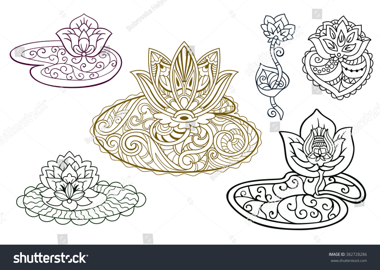 Set Decorative Stylized Lotus Flowers Graphic Stock Vector Royalty
