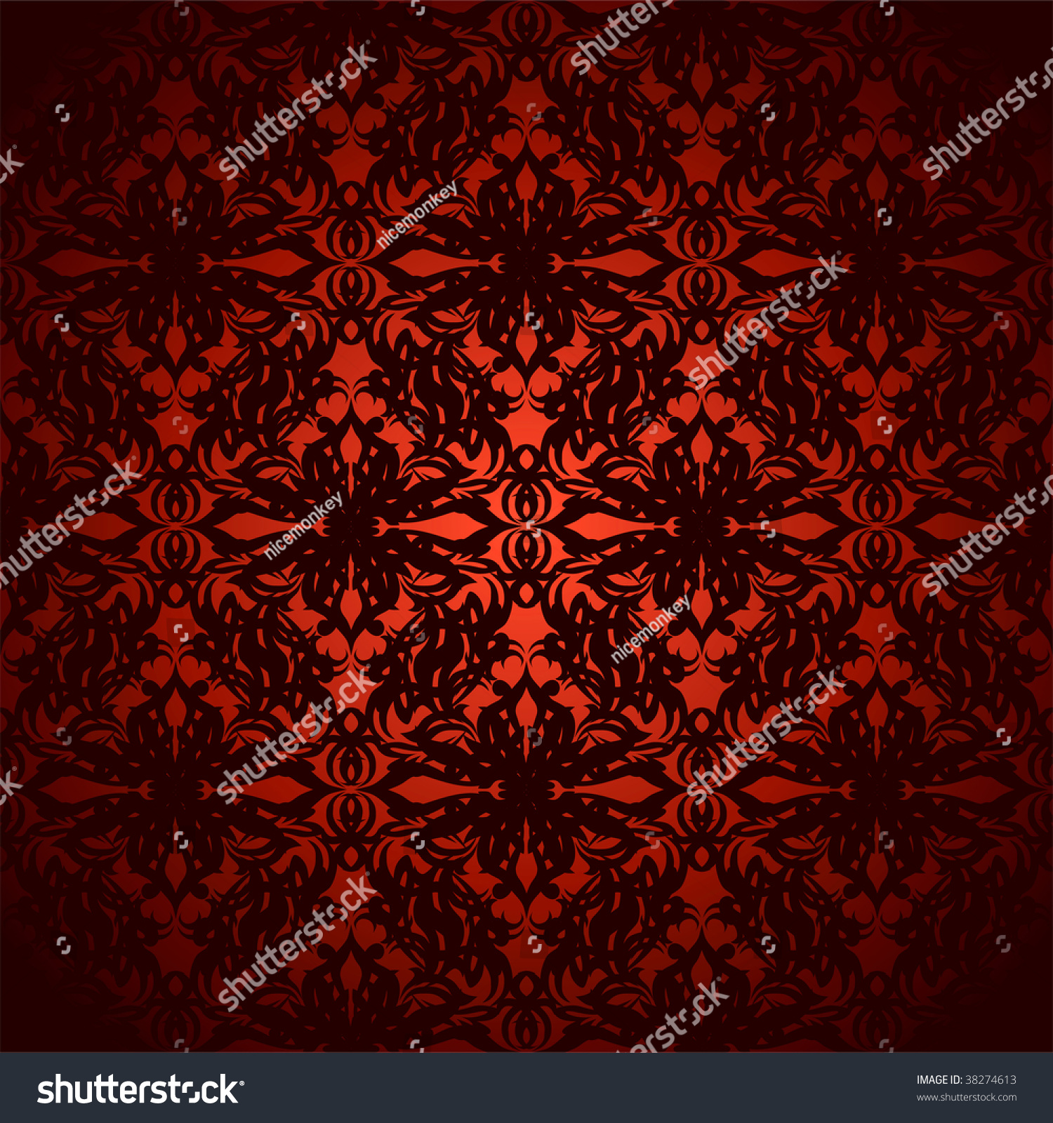 Bright Red And Black Abstract Floral Inspired Wallpaper