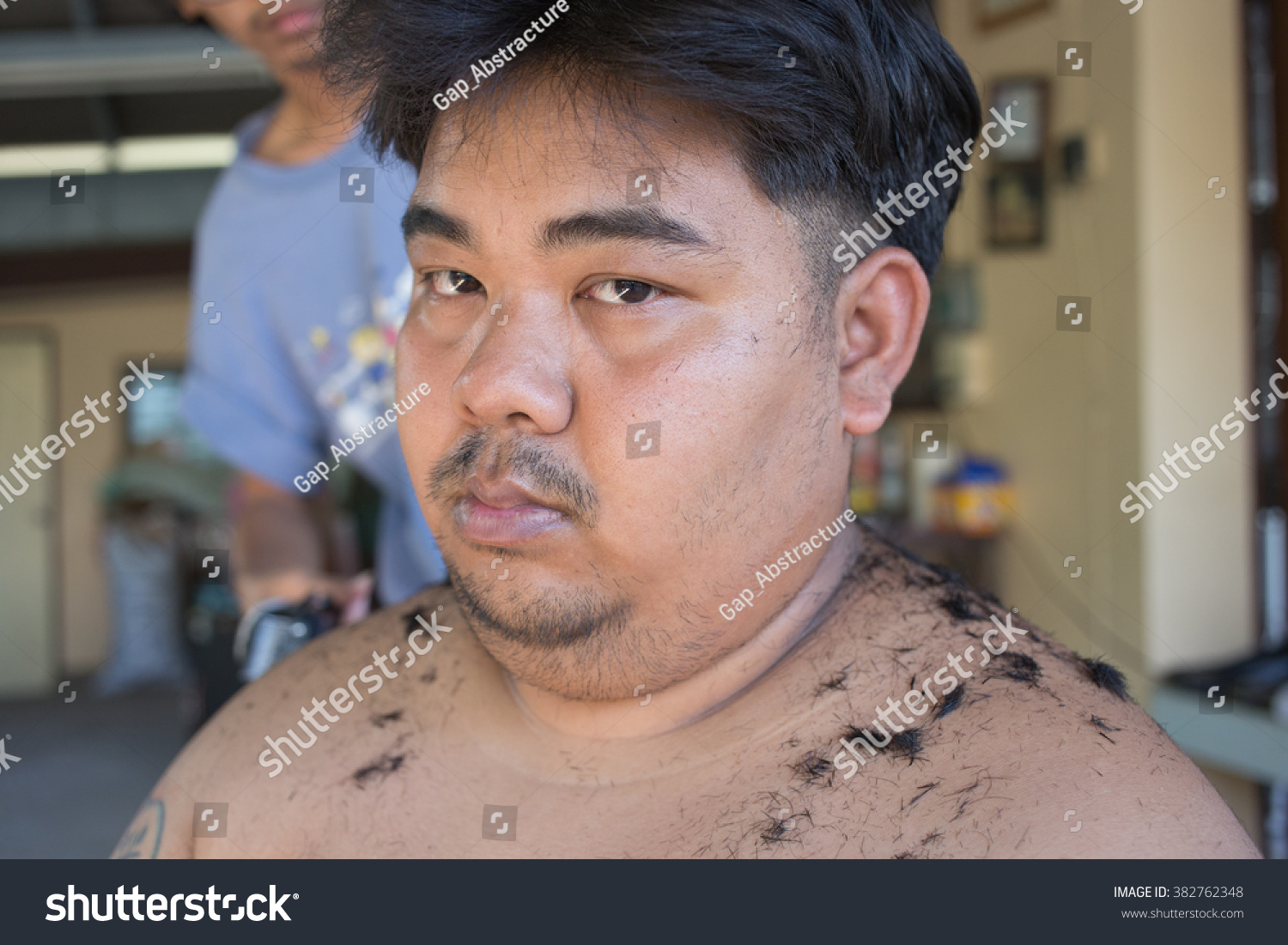 Fat Man Getting Haircut By Hairdresser Stock Photo Edit Now