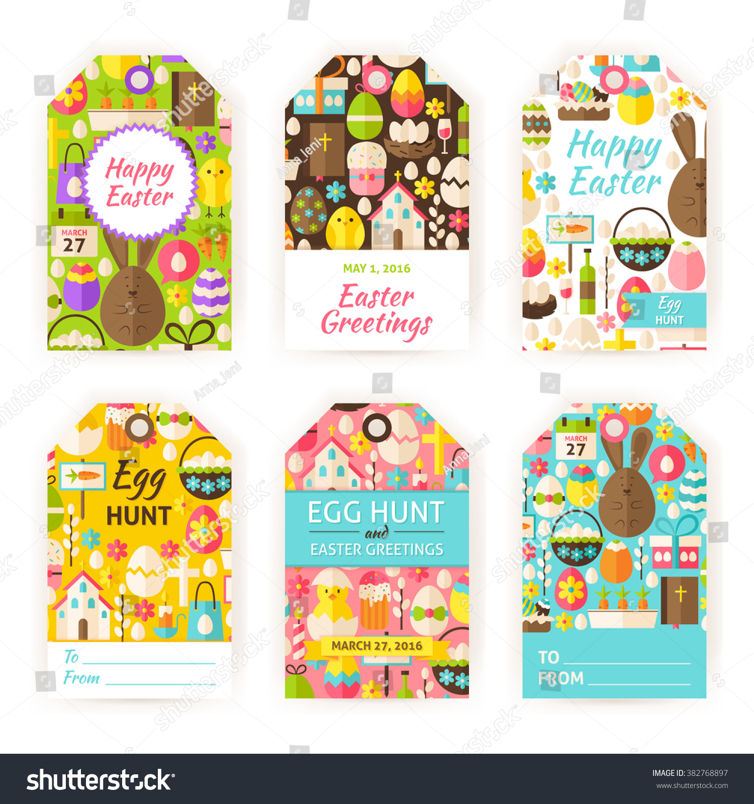 Happy easter gift tag template set stock vector 382768897 happy easter gift tag template set flat vector illustration of spring christian labels printable negle Image collections