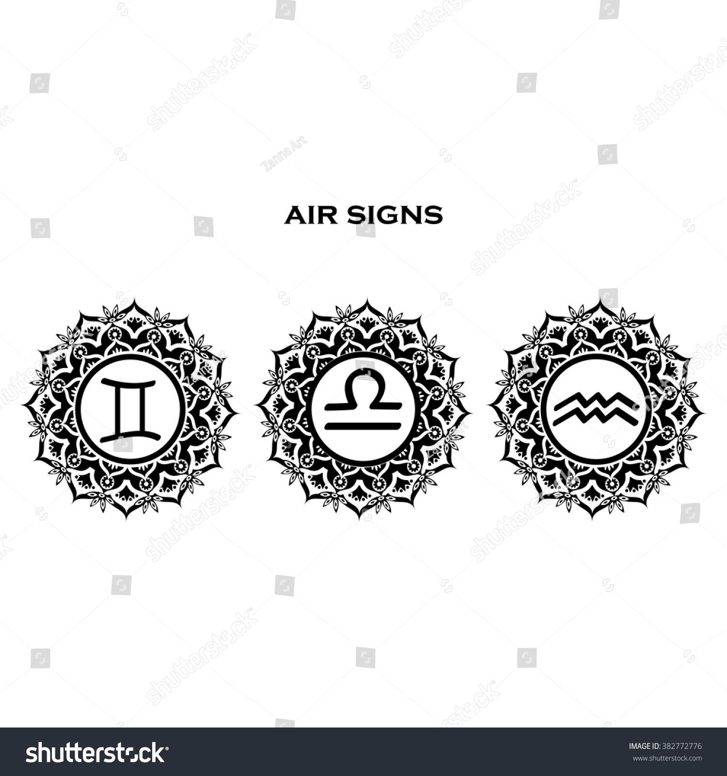 Zodiac symbols air element mandala libra stock vector 382772776 zodiac symbols air element mandala libra gemini aquarius biocorpaavc Choice Image