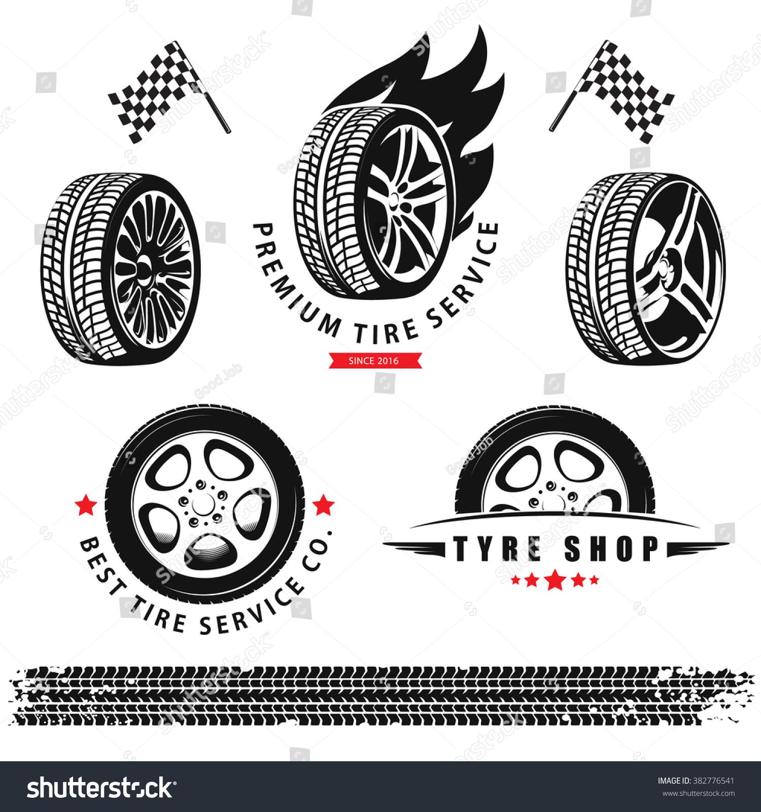 Vector Set Wheels Tires Tracks Use Stock Vector 382776541