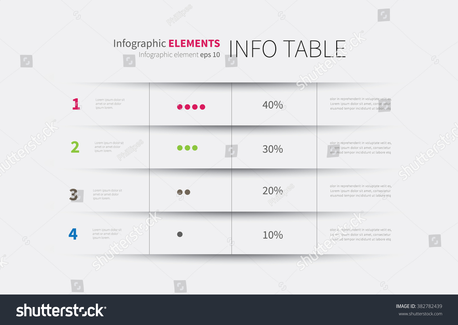 Modern infographics template options steps rows stock for Html table options