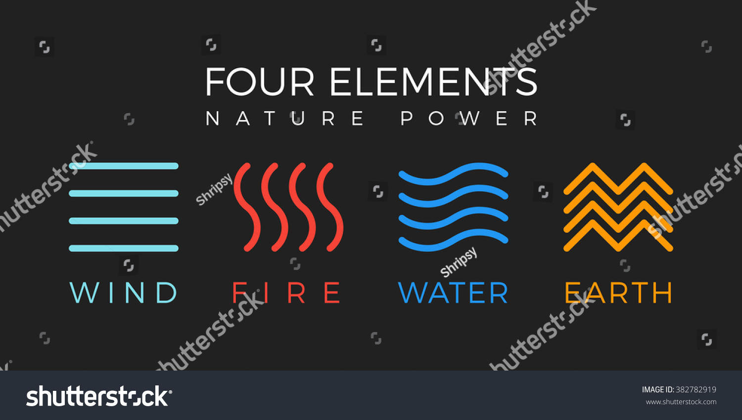 Four Elements Icons Line Symbols Vector Stock Vector 382782919