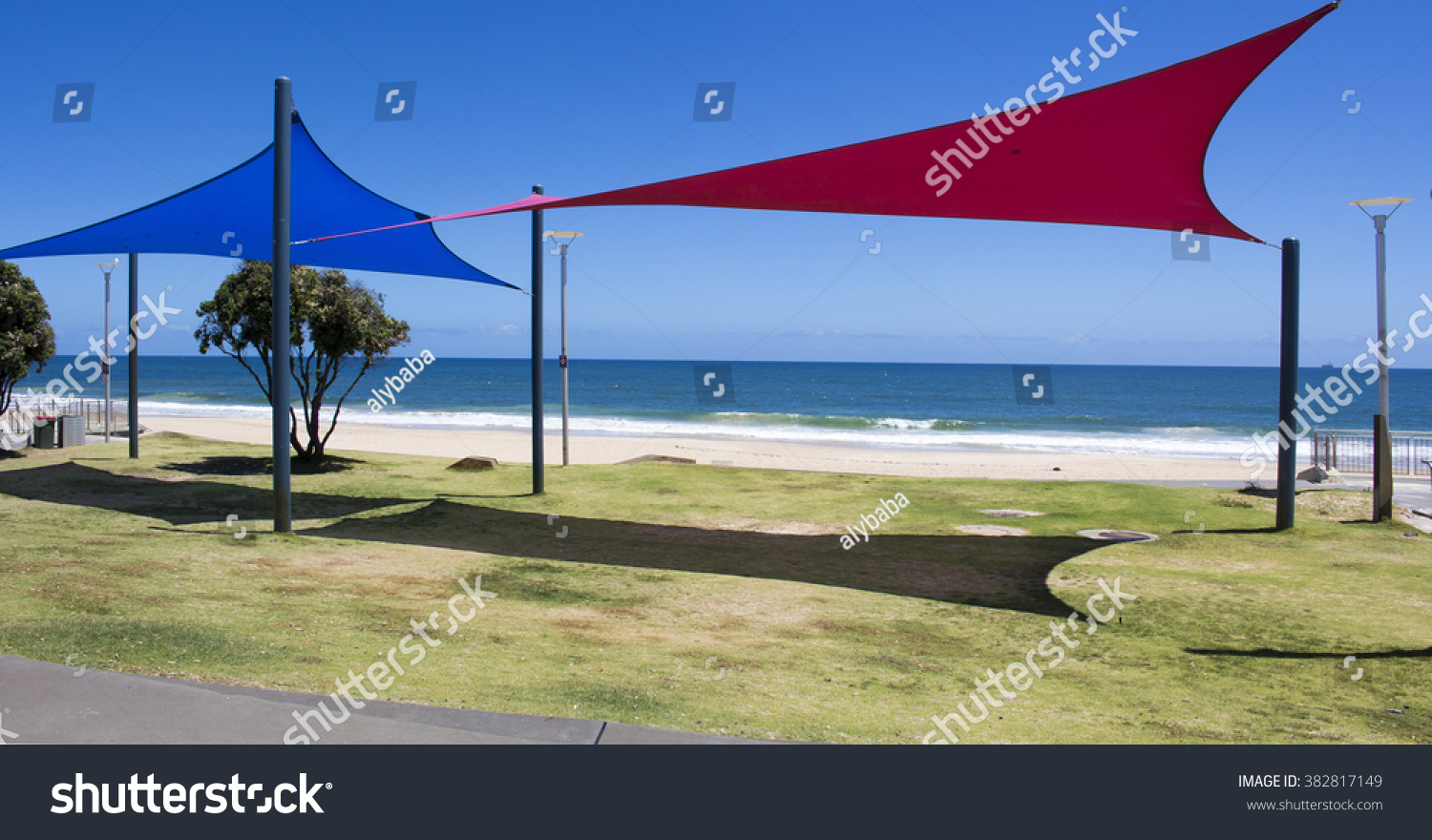 Colorful Bright Red Blue Shade Sails Stock Photo (Edit Now