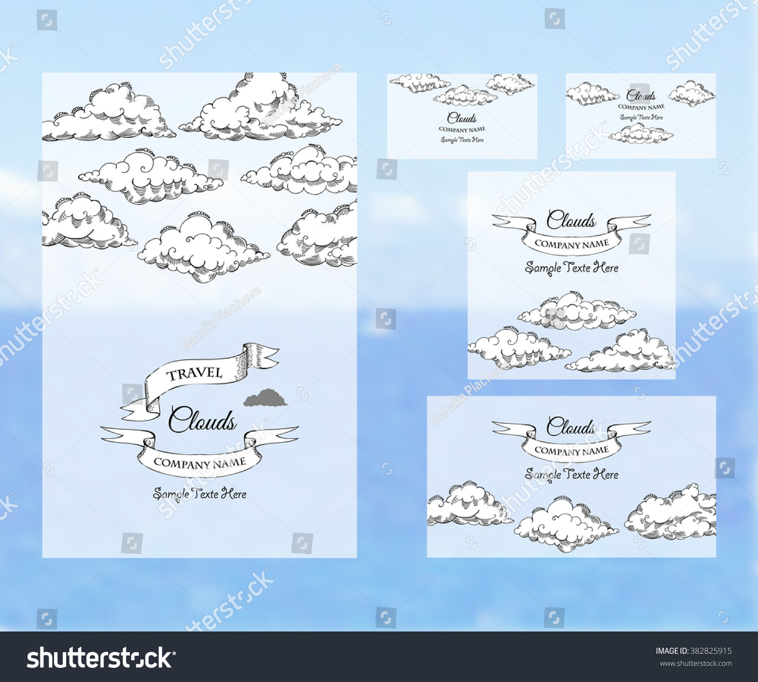 Design templates print travel banner business developing a design templates print grand opening invitation banner design stock vector template corporate identity with clouds sketches background for printed media pronofoot35fo Image collections