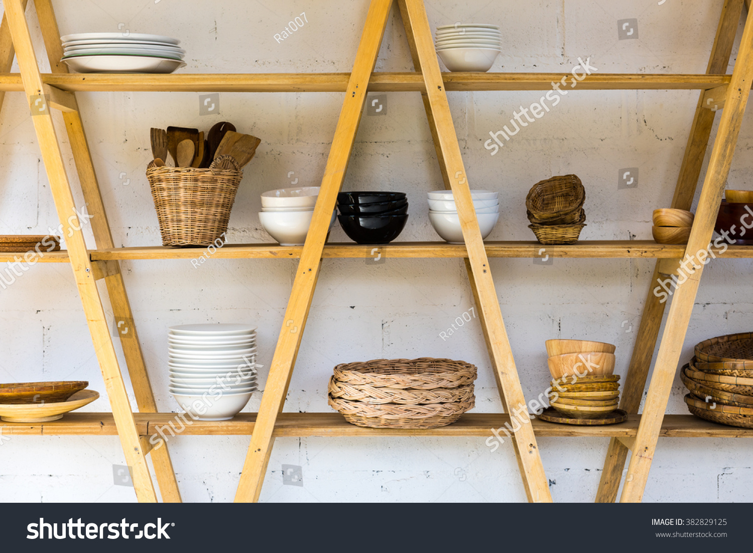 kitchen wood shelf with home kitchen wares - Kitchen Wares