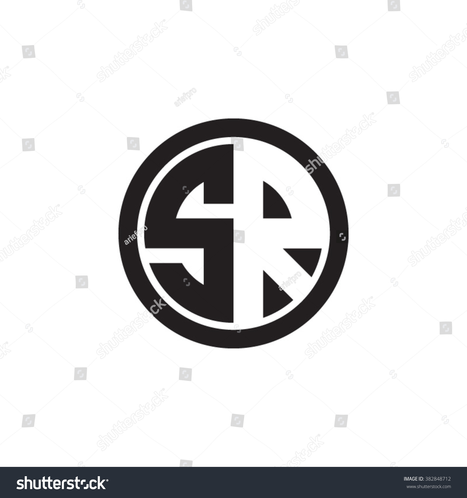 Sr Initial Letters Circle Monogram Logo Stock Vector Royalty Free 382848712