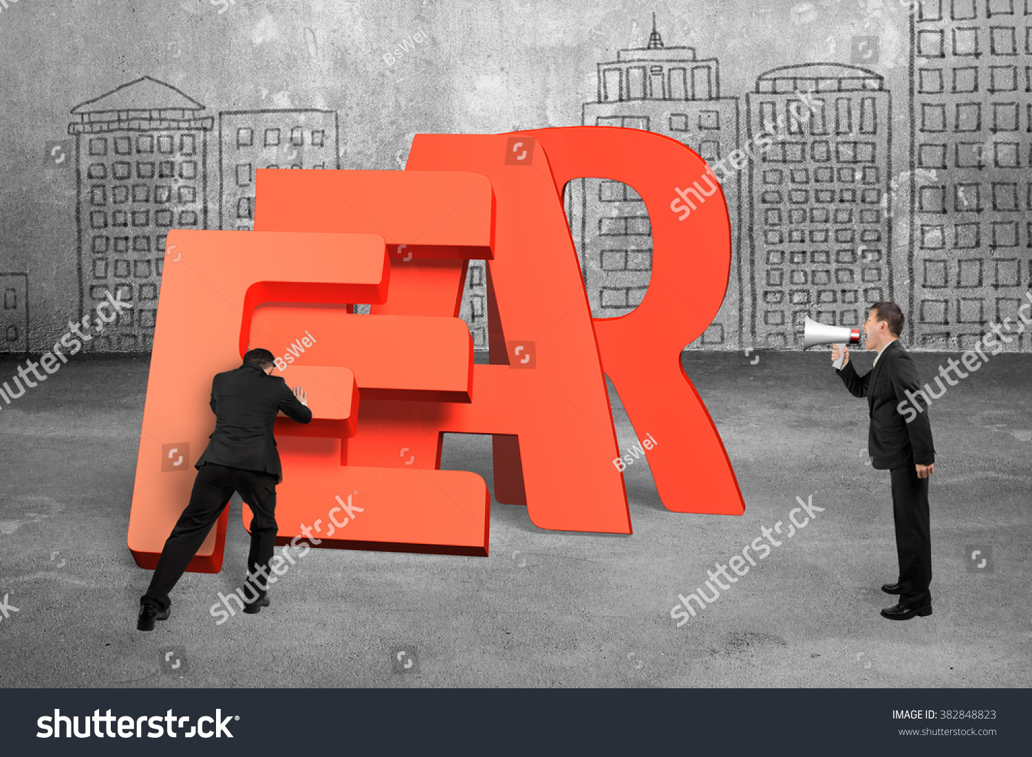 Another Word For Falling: Man Pushing Domino Red Fear Word Stock Photo 382848823