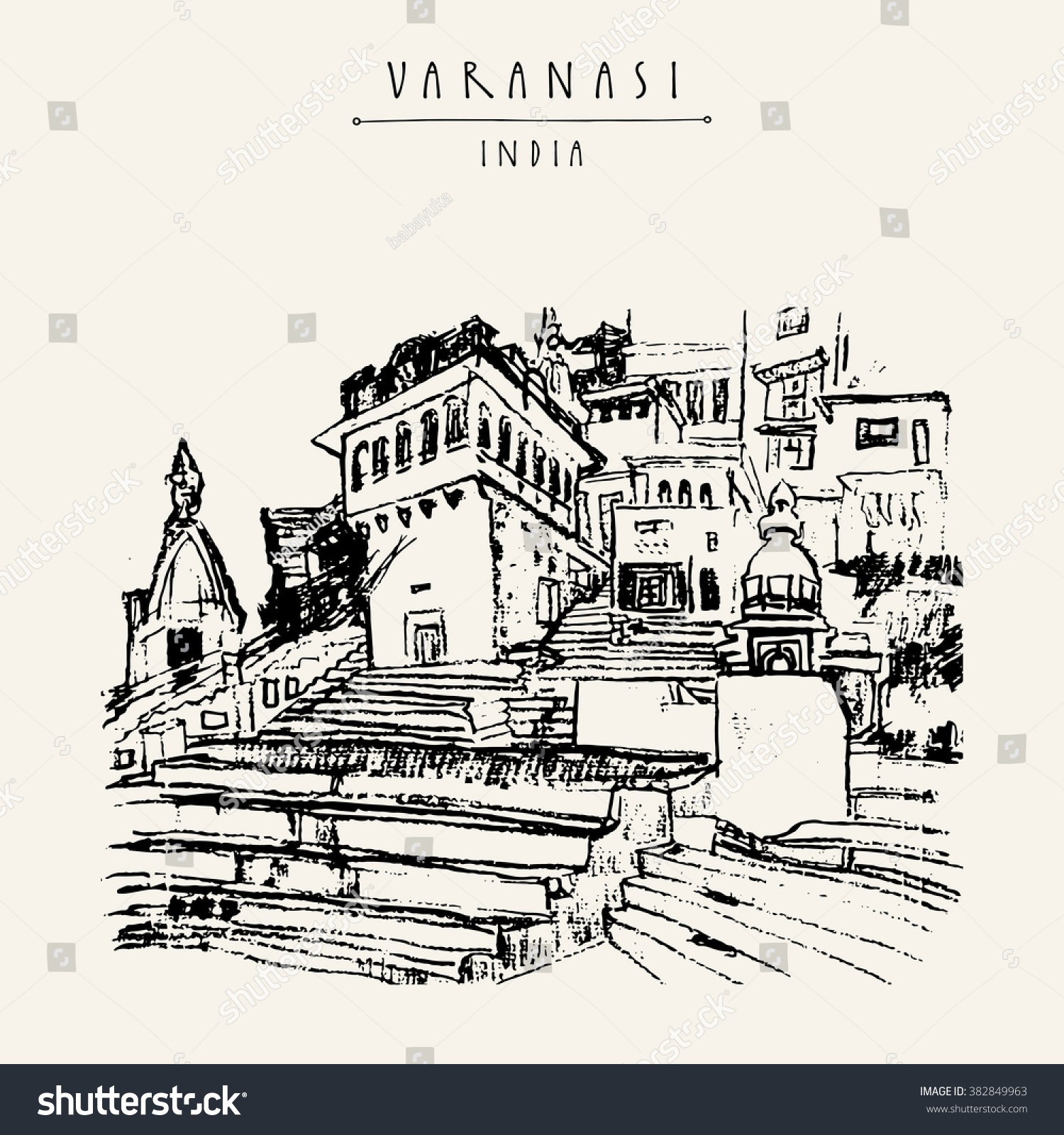 Ghat Varanasi Uttar Pradesh India Hand Stock Vector (Royalty Free ...
