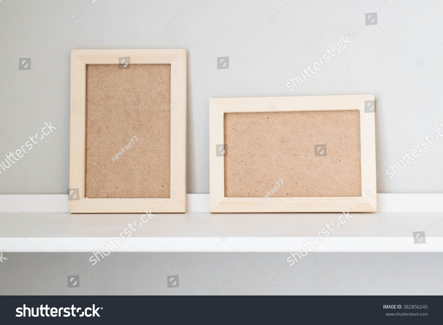 Wooden Picture Frame On White Shelf Stock Photo Edit Now 382856245