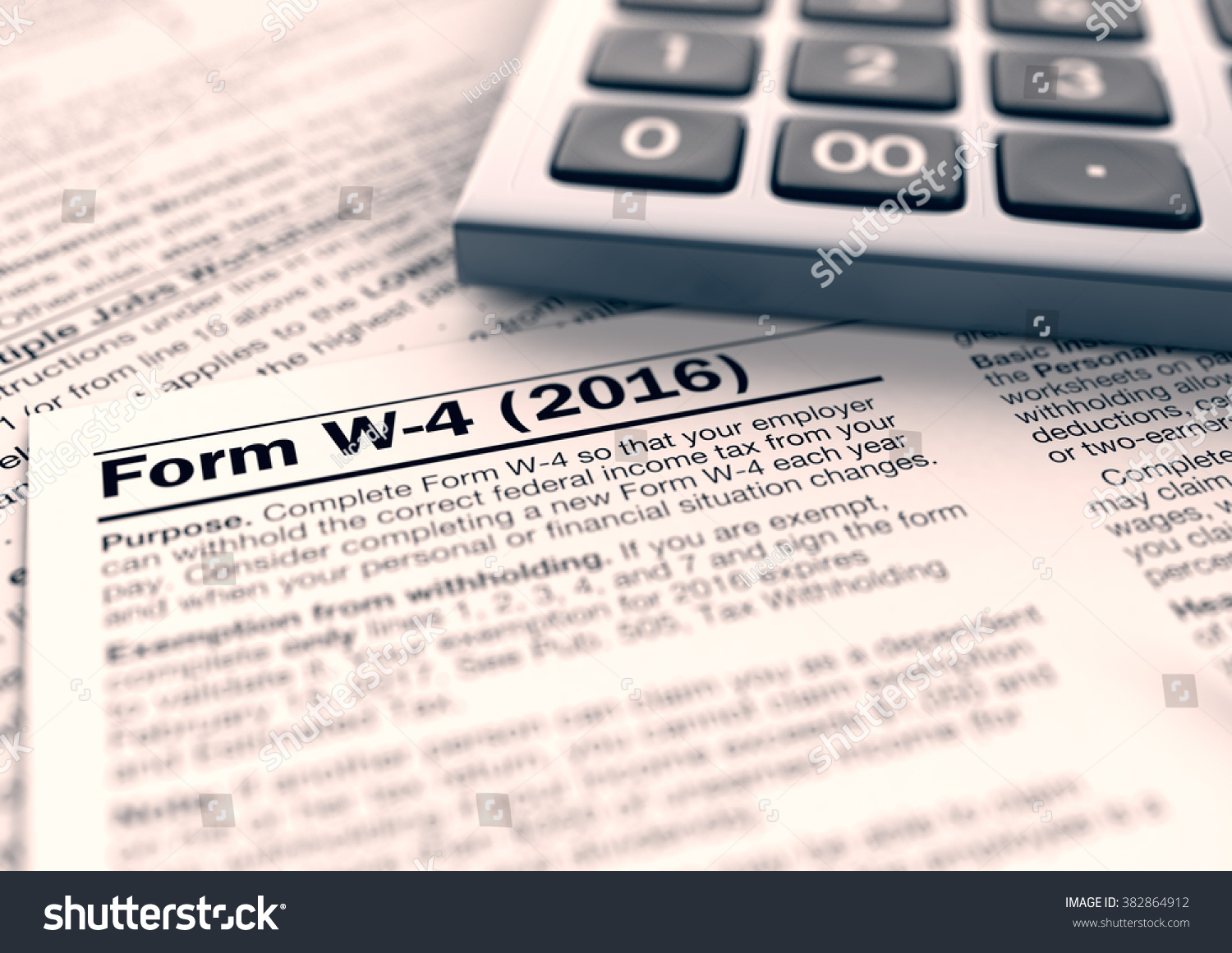 Close View W4 Form Usa Taxes Illustration 382864912 – W4 Worksheet Calculator