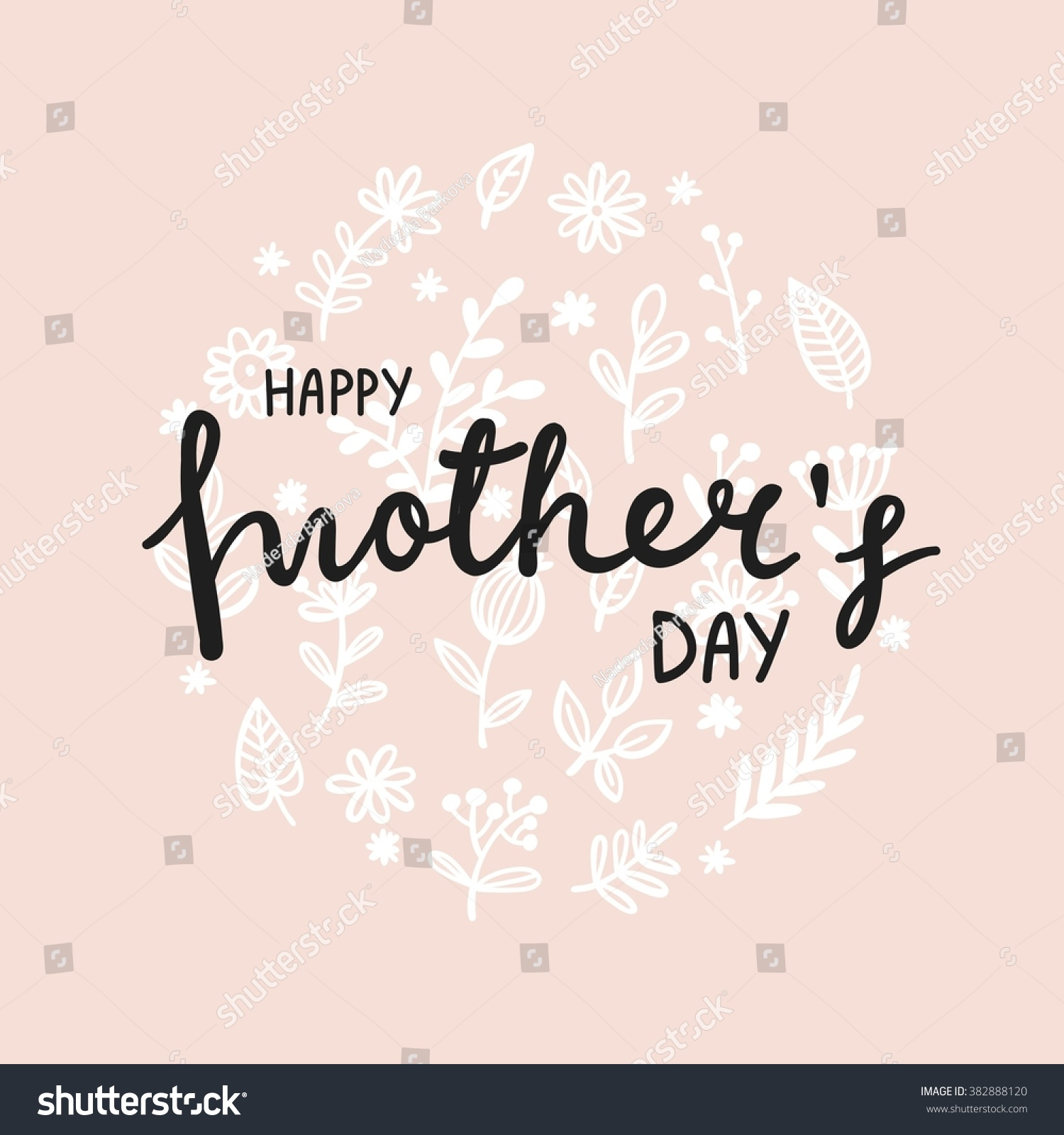 Lettering Happy Mothers Day card