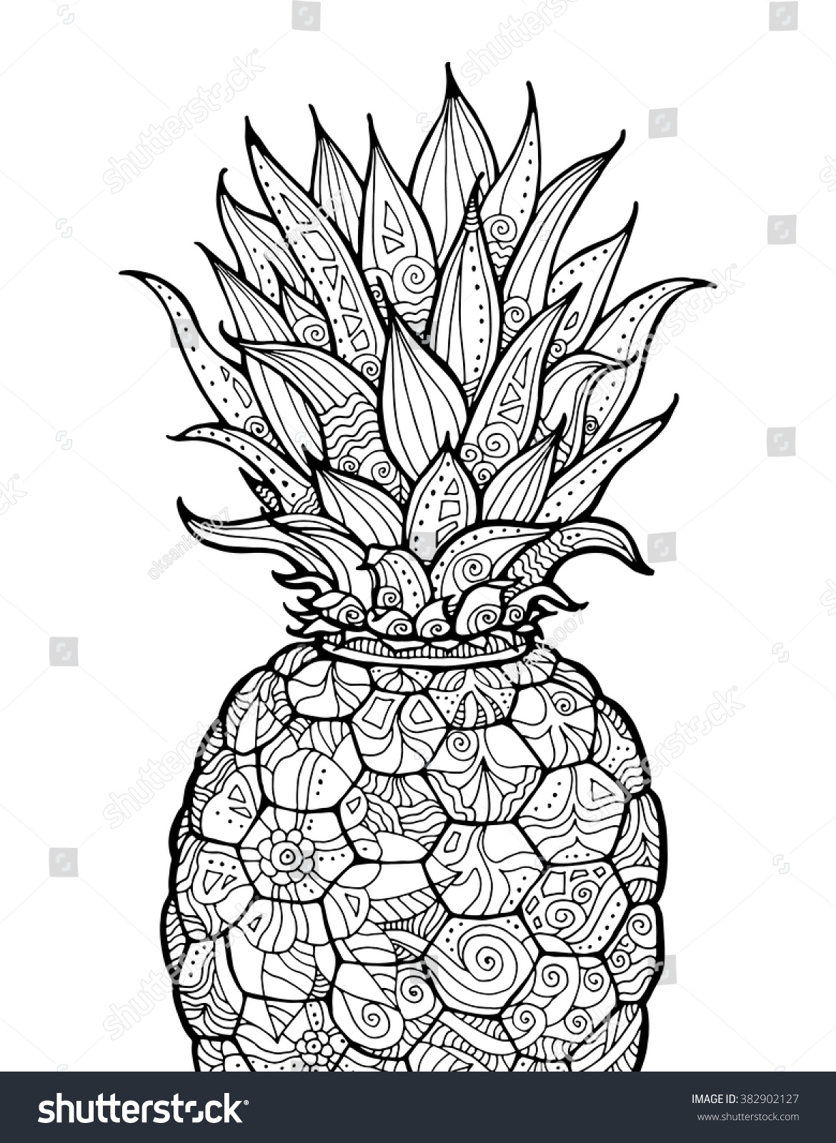 Ananas pineapple exotic fruit with floral pattern vector coloring book page for adult zentangle hand drawn artwork summer concept for party card