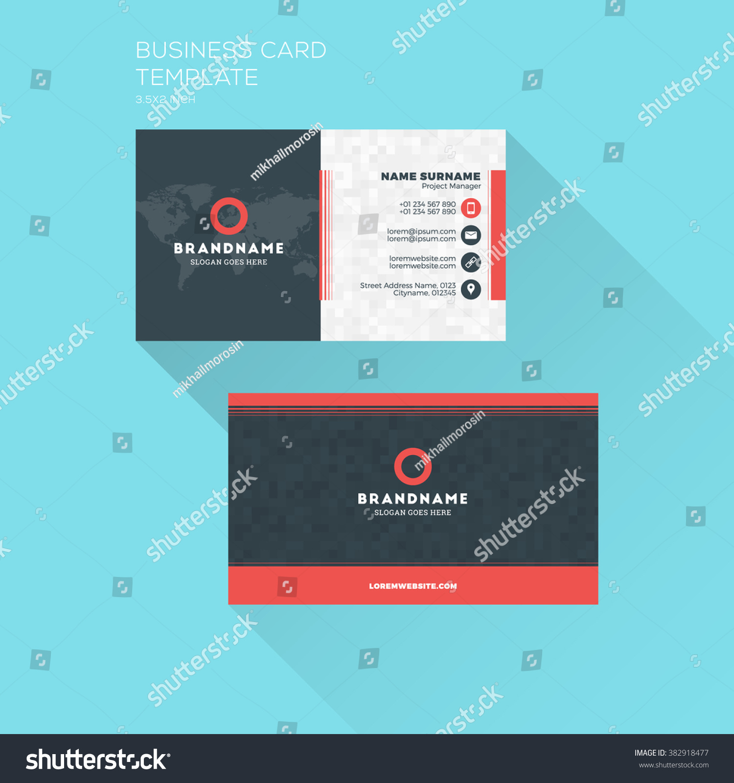 Corporate Business Card Print Template Personal Stock Vector (2018 ...
