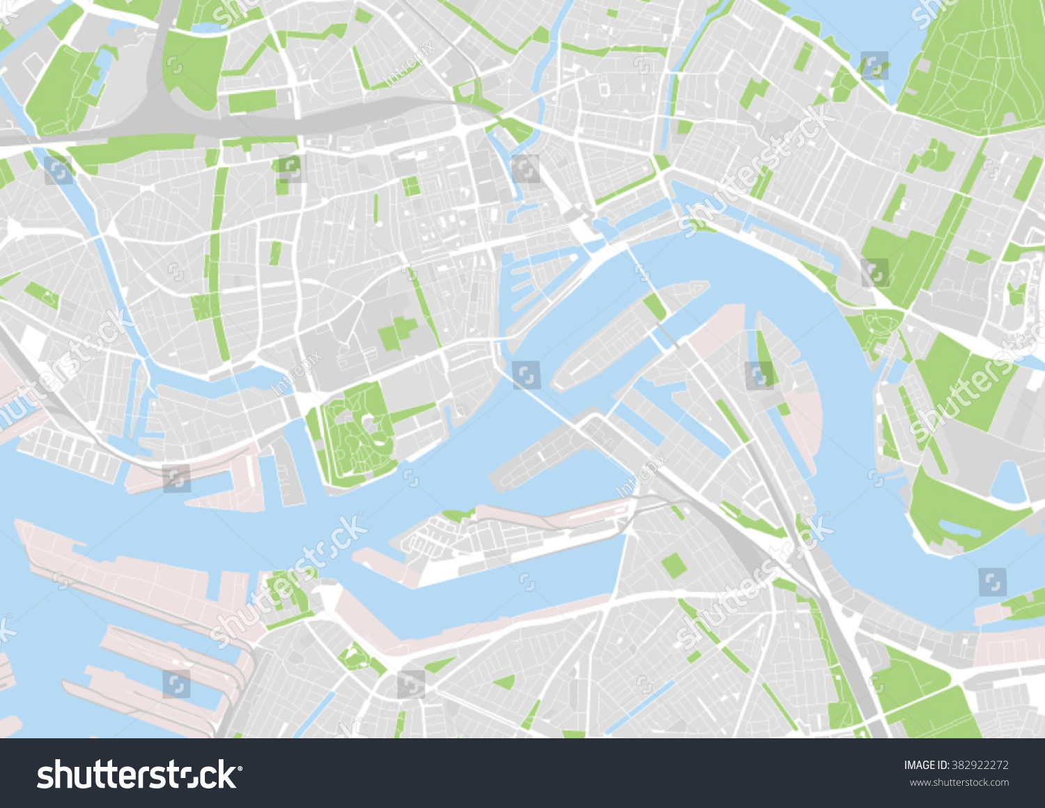 Vector City Map Rotterdam Netherlands Stock Vector (Royalty Free ...