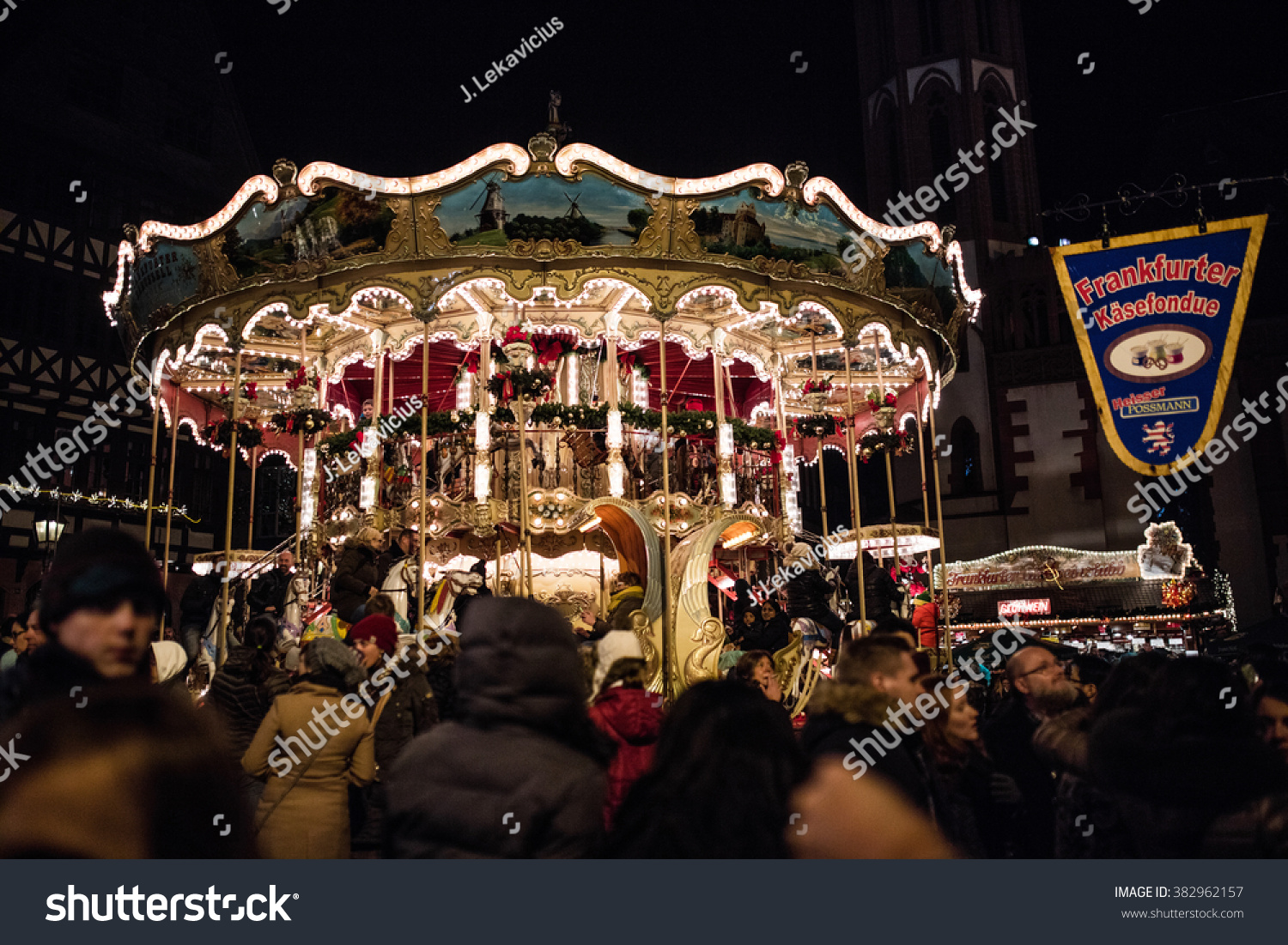 FRANKFURT November 28 2015 People visit traditional christmas market in Frankfurt Germany First Christmas market was held in 1393 Frankfurt's is one of the biggest market in Germany