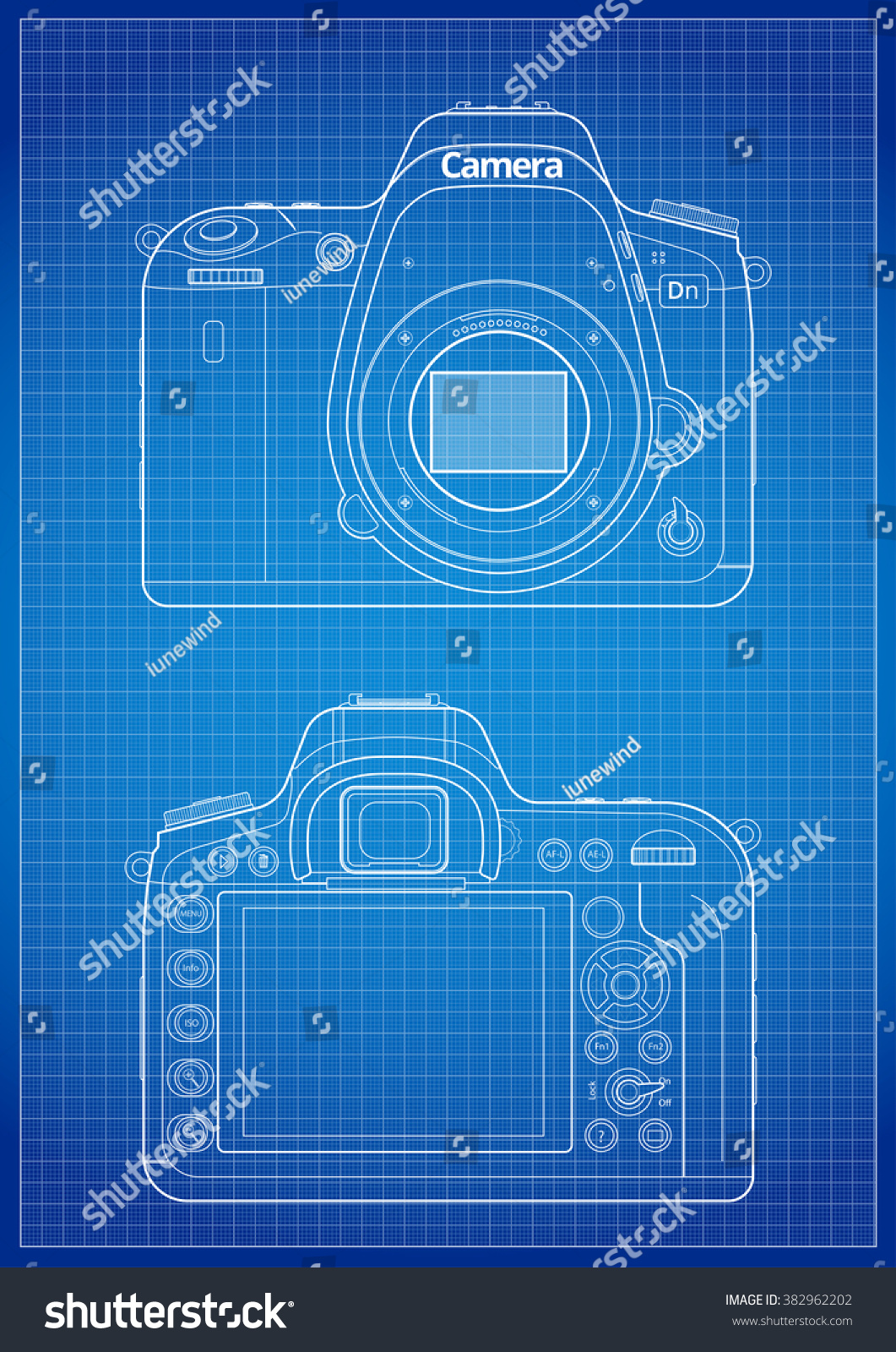 Front back matrix open bayonet slr stock vector 382962202 front back and matrix with open bayonet of slr camera blueprint lines with grid malvernweather Gallery