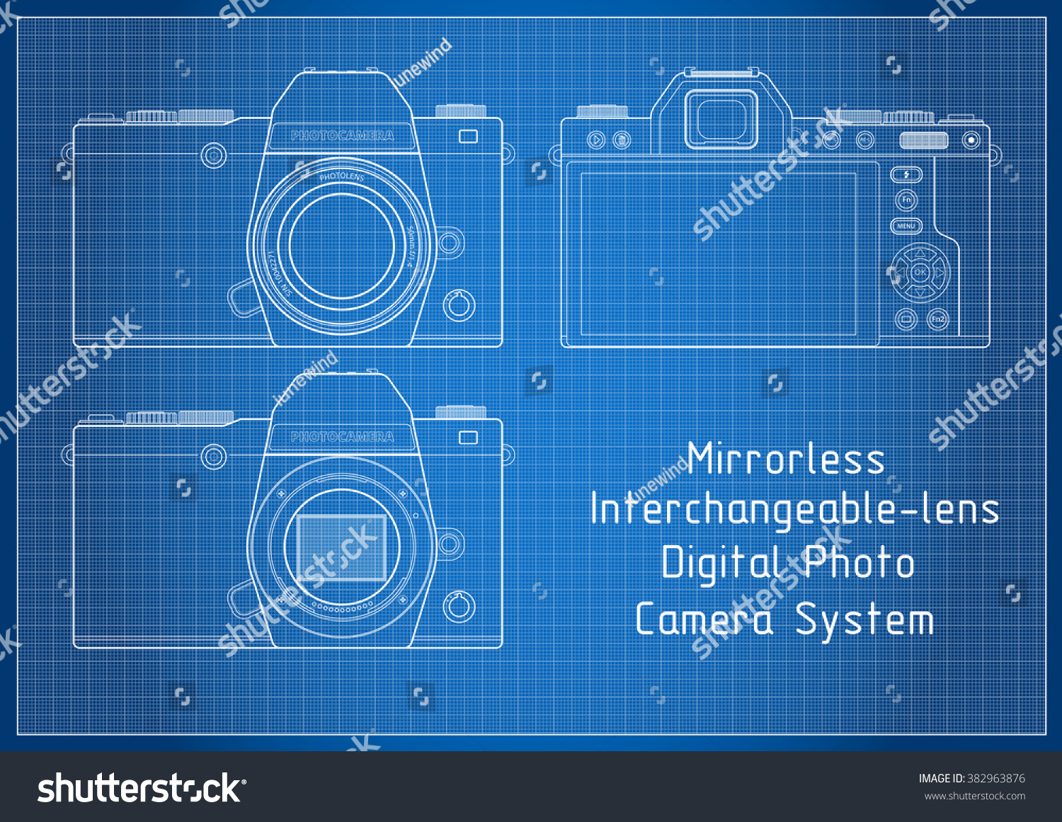Front back view milc mirrorless system stock vector 382963876 front and back view to milc mirrorless system camera with viewfinder blueprint lines with grid malvernweather Gallery