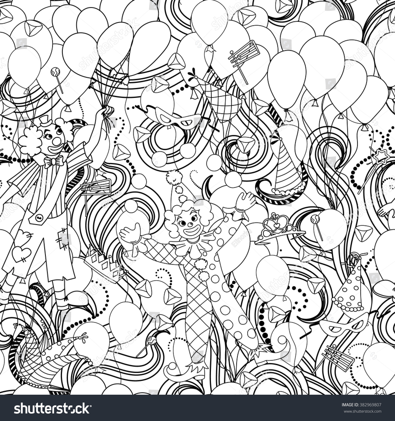 Purim Jewish Holiday Seamless Pattern Black Stock Vector Royalty