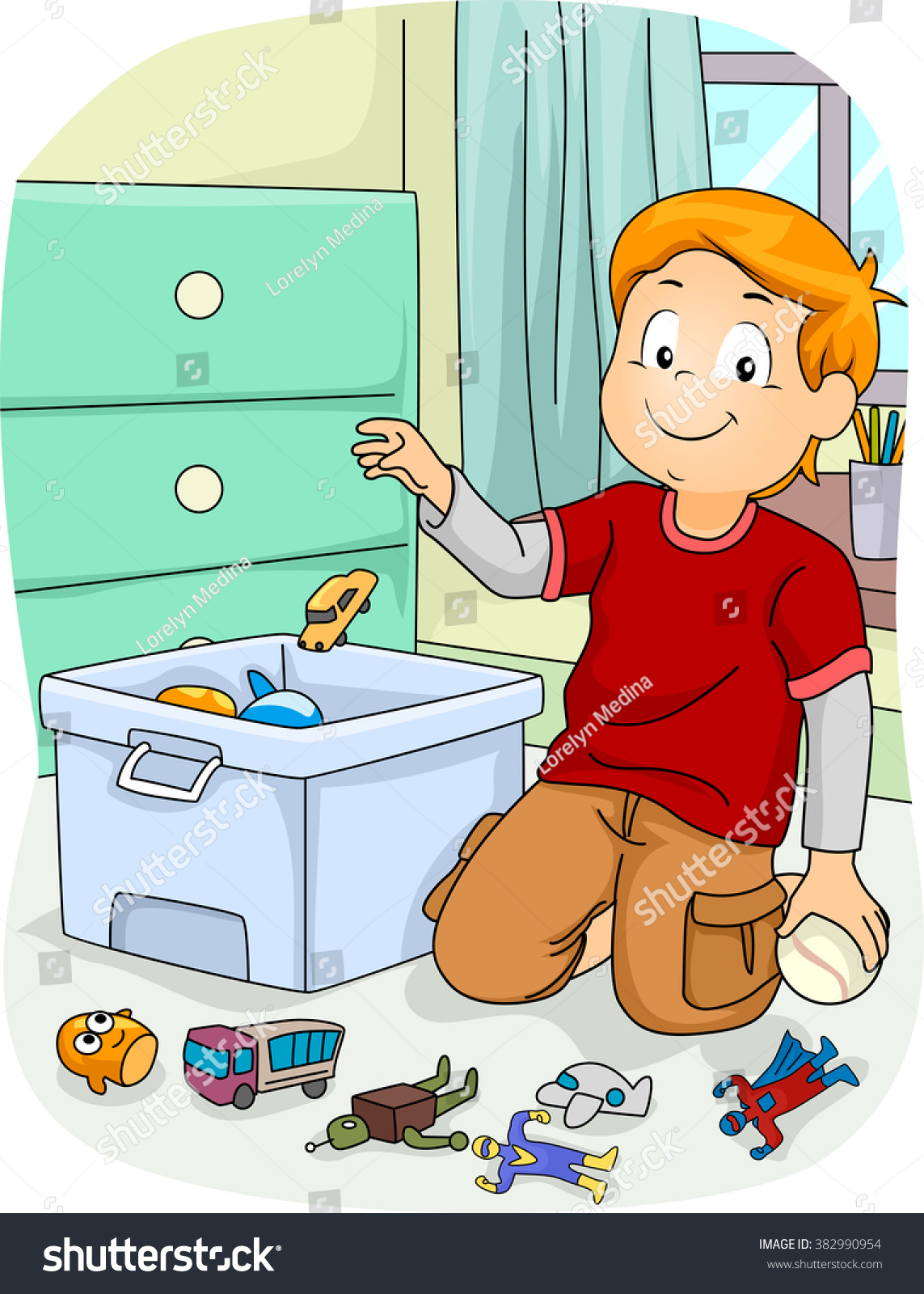 Illustration Boy Doing Household Chores By Stock Vector ...