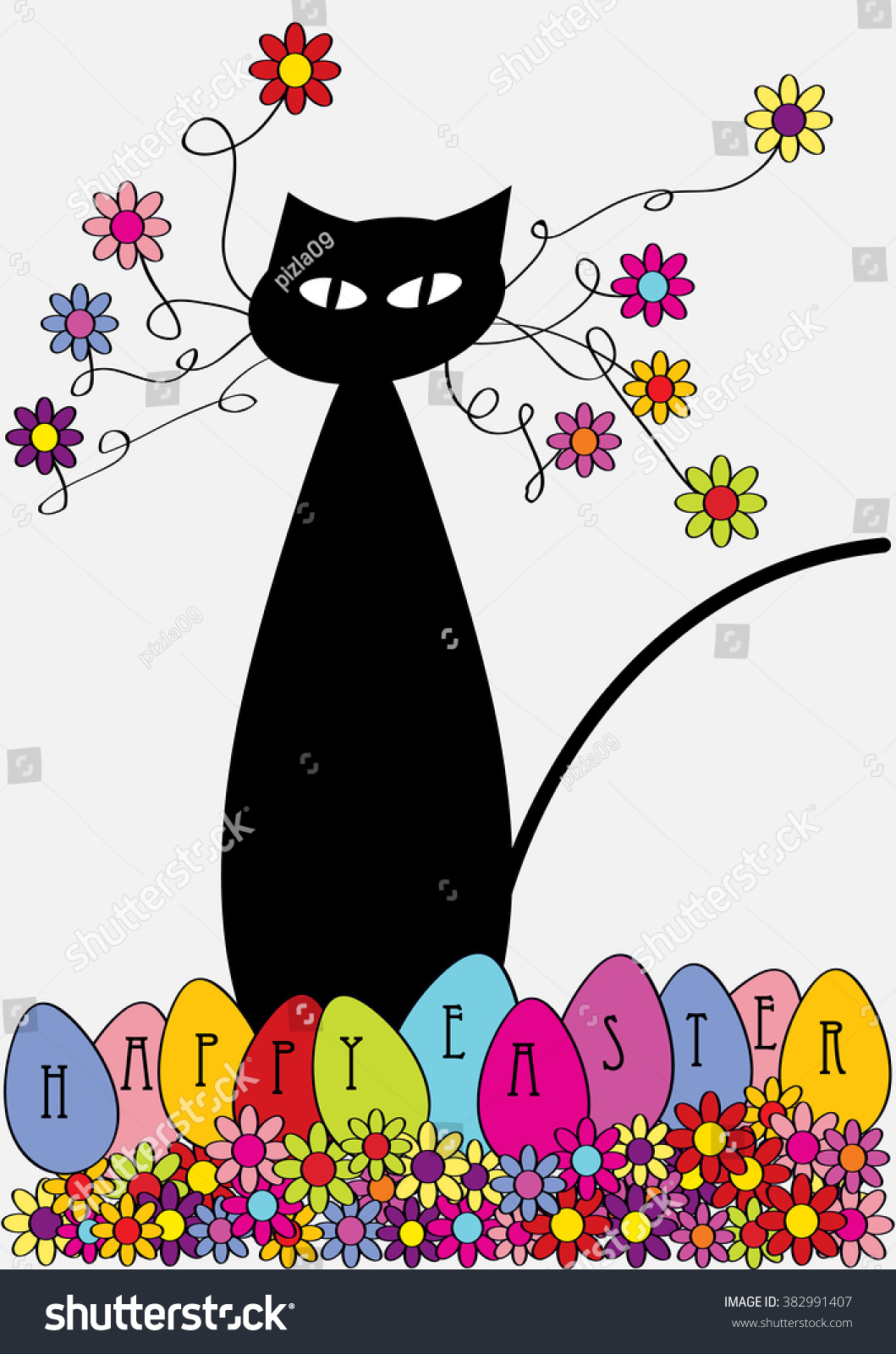 happy easter cartoon cat stock vector 382991407