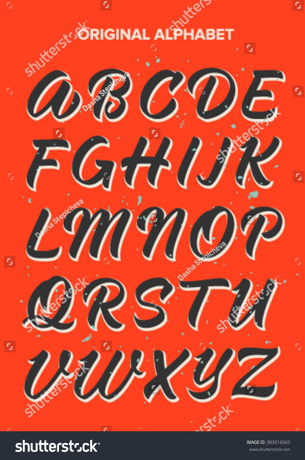 Abc Calligraphy Alphabet Stock Vector 383016043 Shutterstock